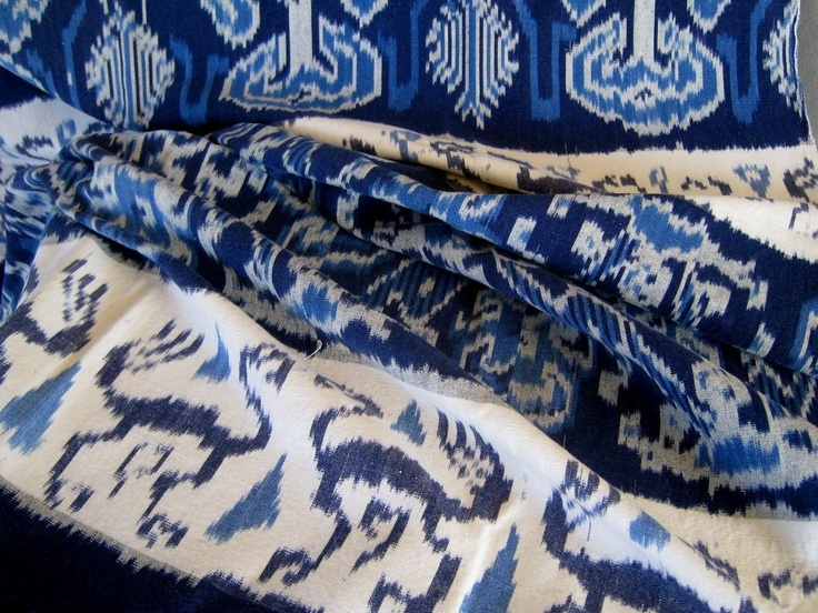 Vintage Indonesian Indigo Ikat Weaving c1940-60 from stonehouseantiques on Ruby Lane