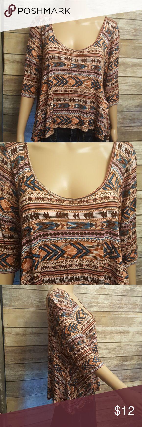 American Rag Aztec Crop Top Oversized crop Low cut neckline Wear it off one shoulder  Soft material American Rag Tops
