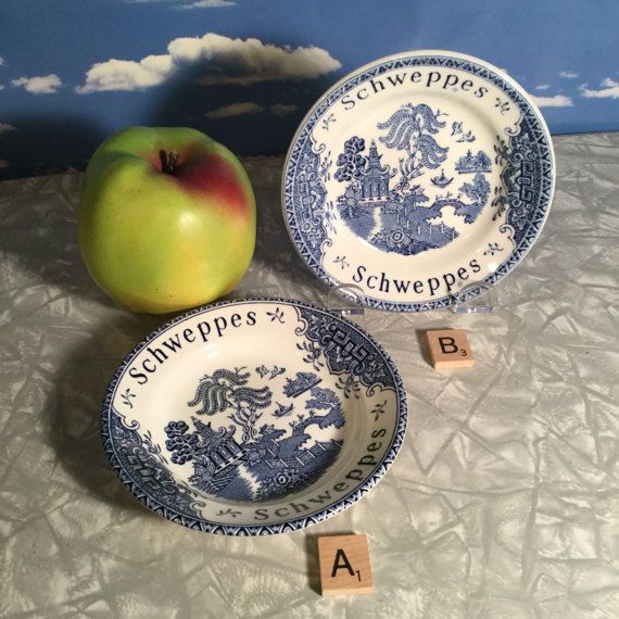 Blue and White transferware Wedgewood blue willow by VeryUsVintage