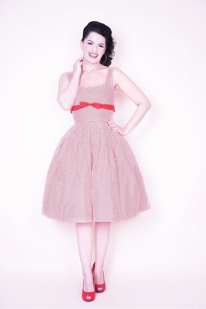 Bernie Dexter Susie Dress in Red and White Polka dot print Vintage style pinup