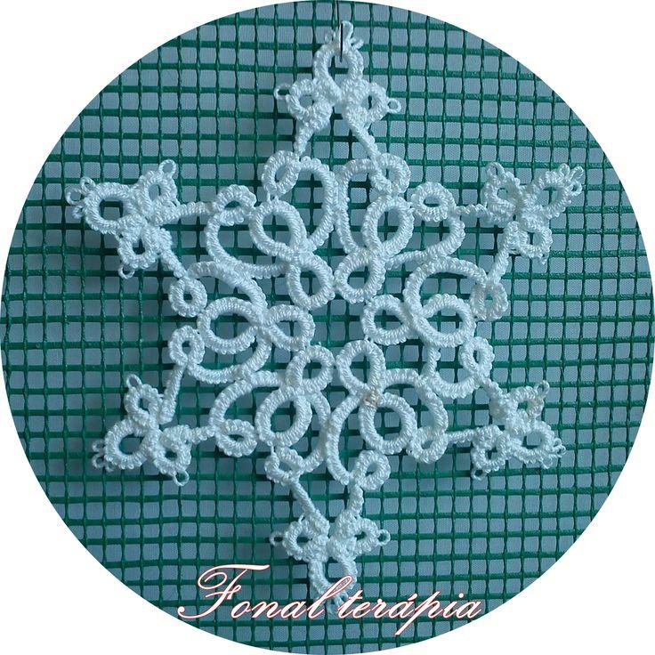 fehér#hópehely#karácsony#frivolitás#hajócsipke