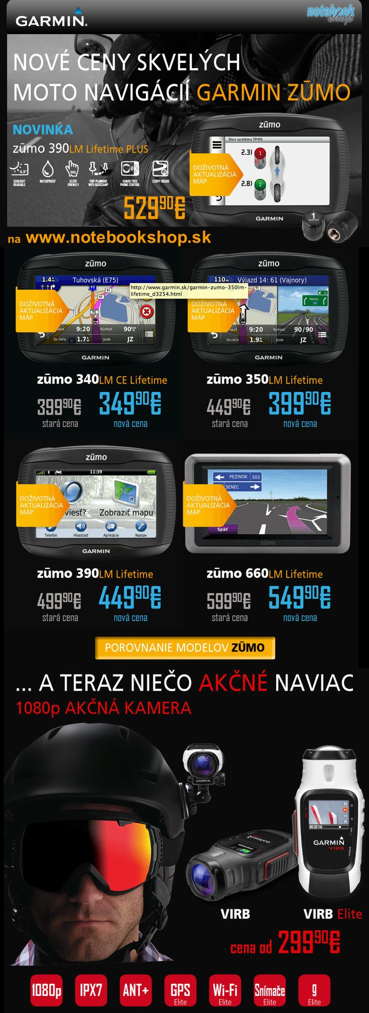 Akciové ceny na navigácie pre motorkárov Garmin Zumo (až 15% zľavy) + akčné kamery Garmin VIRB.