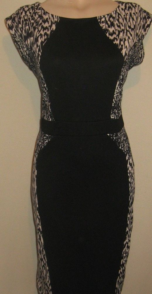 LADIES FABULOUS BLACK CREAM CHRISTMAS PARTY DRESS SIZE 16 UK BY