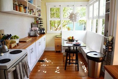 Small eat in kitchen wood counters white cabs small for Small eat in kitchen