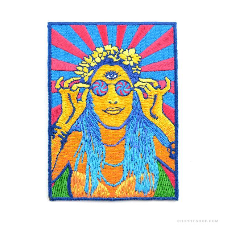 Retro Hippie Chick  Patch
