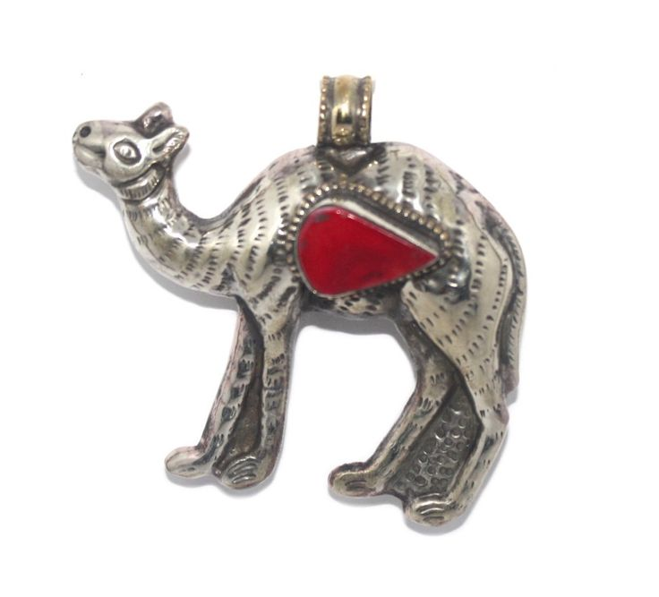 Large coral camel pendant