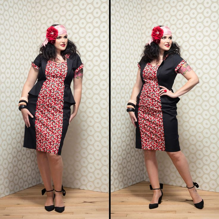 Celia Peplum Dress in Cherry Liberty/Black