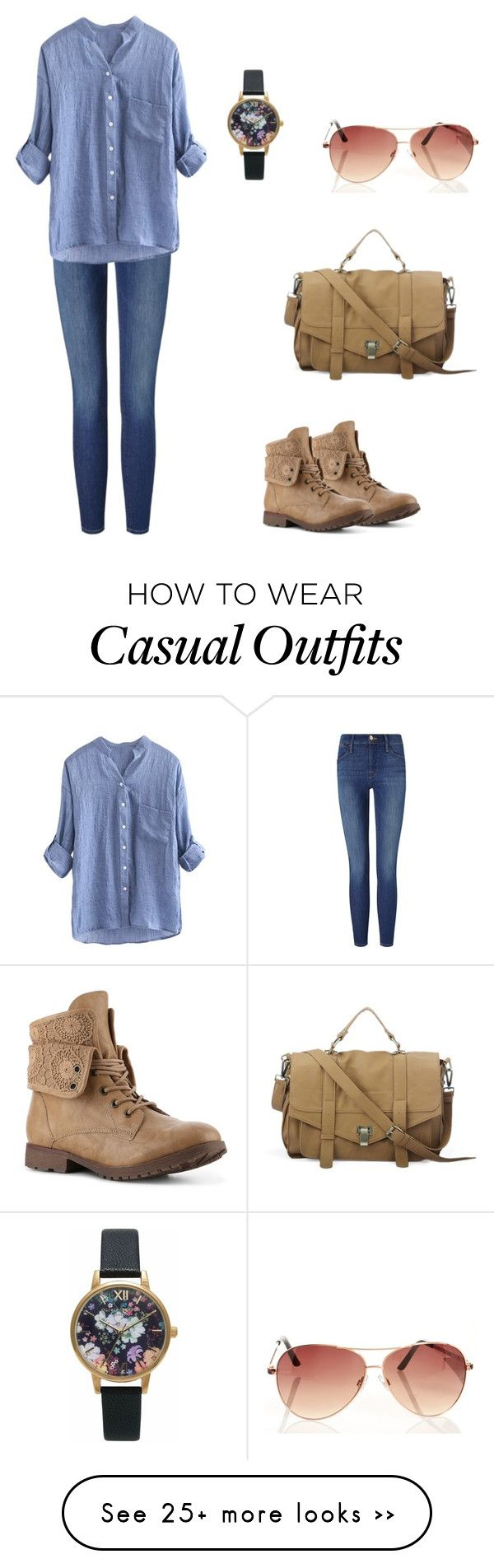 """Casual"" by sarahmanga on Polyvore featuring Frame Denim and Olivia Burton"