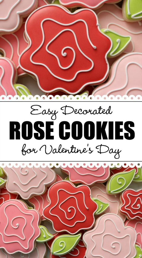 Decorate whimsical Valetine's Day rose cookies in three easy steps
