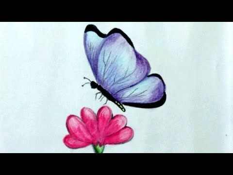 How To Draw Colourful Butterfly Flower With Butterfly Drawing Easy And Simple Oil Pastel Drawing Youtube Flower Drawing Butterfly On Flower Drawings