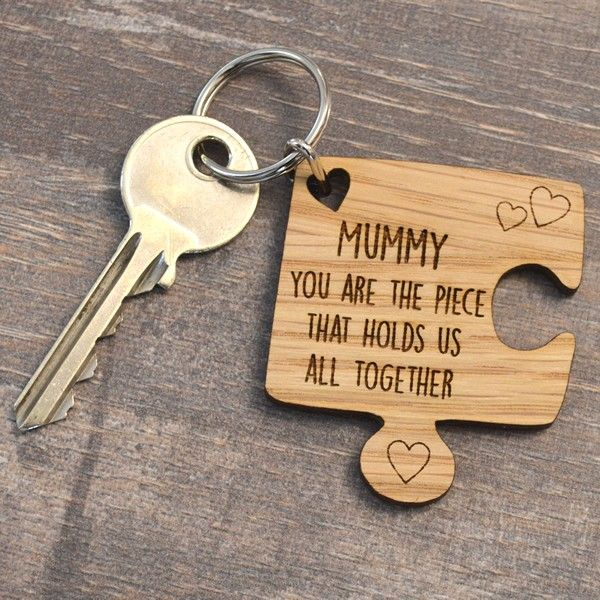 Personalised Oak Wooden Jigsaw Piece Mothers Day Keyring Holds Us All Together - Pretty Personalised