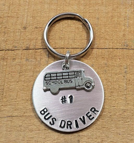 Bus Driver stamped keychain number 1 bus driver by MsFabDesigns