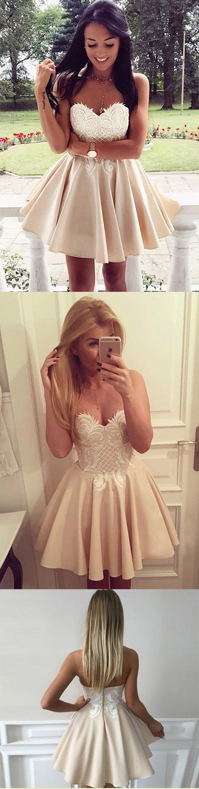 Sweetheart Strapless Homecoming Dresses,Open Back Appliques Short Prom Dress H155 Short Prom Dresses, Homecoming Dresses, Prom Gowns, Party Dresses, Graduation Dresses, Short Prom Dresses, Gowns Prom, Cheap Prom Gowns on Line