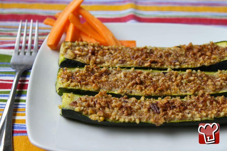 Integrare la frutta secca: zucchine ripiene di pesto di noci.... Meglio usando prodotti bio