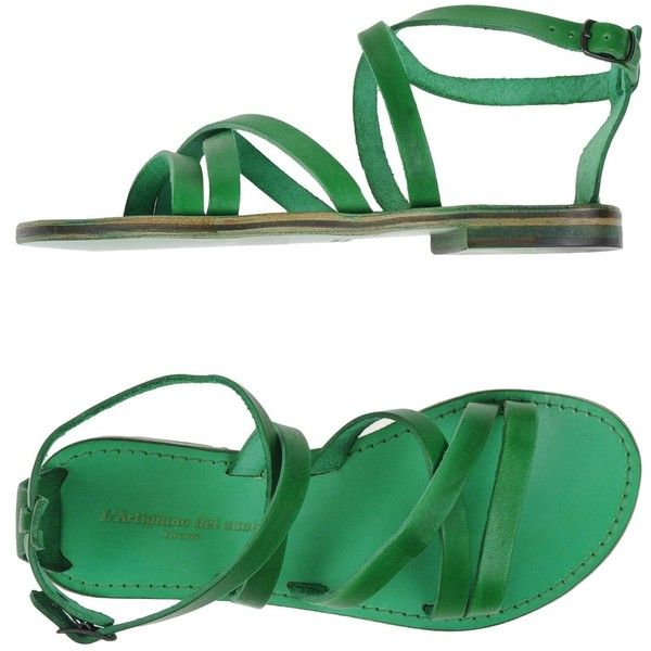L' Artigiano Del Cuoio Sandals (430 RON) ❤ liked on Polyvore featuring shoes, sandals, green, green sandals, leather sole shoes, ankle wrap flat sandals, ankle wrap sandals and buckle sandals