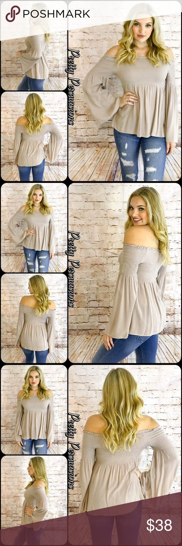 "NWT Taupe Long Bell Sleeve Off Shoulder Top NWT Tan Taupe Long Bell Sleeve Smocked Off Shoulder Top  Available in S, M, L Measurements taken from a Small Length: 15"" Bust: 26"" (Smocked;Has Stretch) Waist: 32"" ** Measurements taken unstretched **  * Also available in Navy & Black in separate listings *   Rayon  Features • smocked stretchy upper for accommodating stay in place fit • long bell sleeves • relaxed, easy fit • soft, breathable material  Bundle discounts available No pp or trades…"