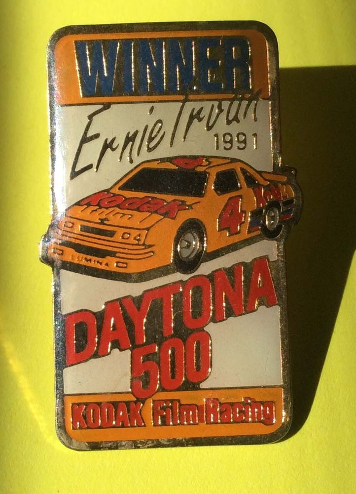 Ernie Irvan Daytona 500 Kodak Film Racing 1991 Winner Lapel Hat Tie Pin Vtg #EastmanKodak
