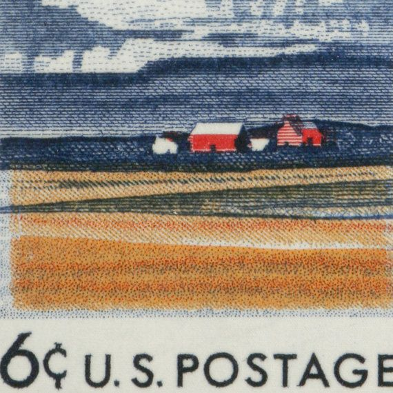 """""""When did it cost 6 cents to mail a letter?"""" the answer is: In the U.S. from 7 January 1968 through 15 May 1971. Illinois 150th Anniversary - Hand Stretched 13x8 Archival Canvas Image of US Postage Stamp"""