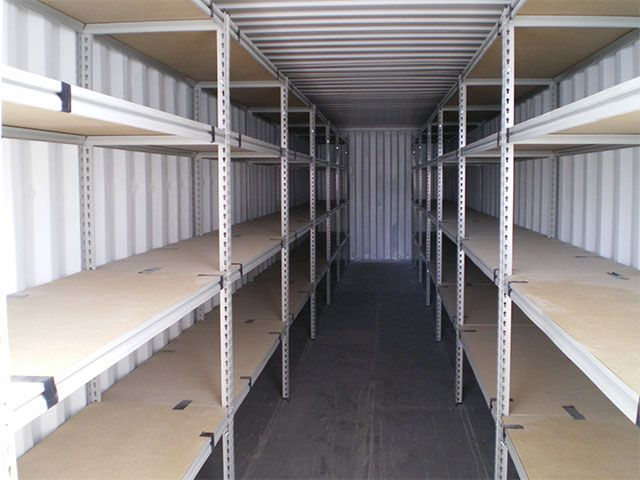 Shipping container storage is infinitely easier with built in shelving! Contact our team today to discuss your shelving requirements!
