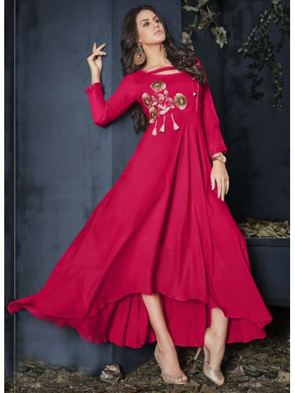 6d26c8011a Pink Rayon Embroidered Fully Stitched Full Length Kurti | Only on  akshop2.wooplr.com | Best kurtis and suits Online