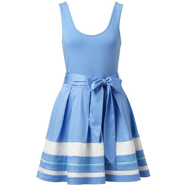 Forever New Mia Striped 2 in 1 Dress (£44) ❤ liked on Polyvore featuring dresses, vestidos, blue, robe, nautical stripe dress, nautical dresses, forever new, forever new dresses and nautical striped dresses