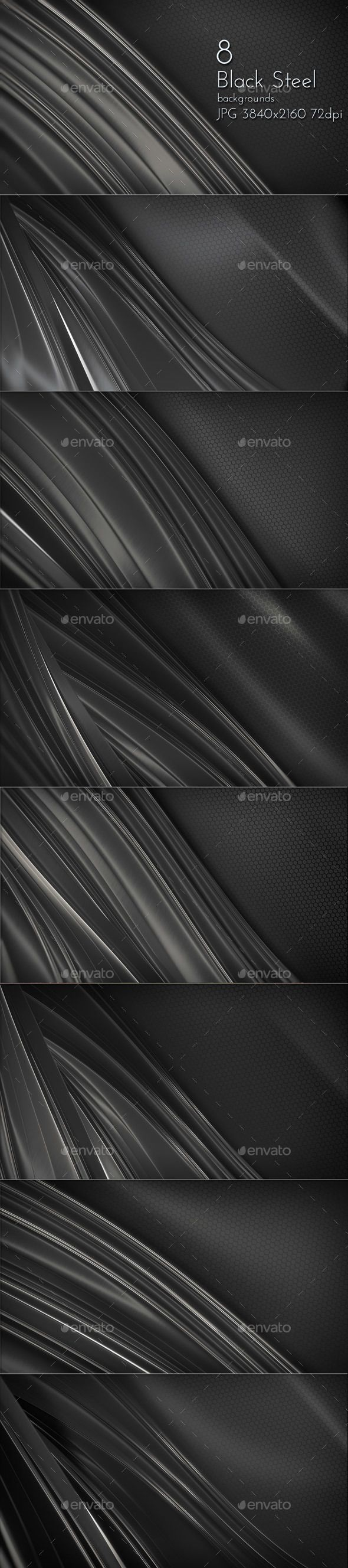 Black Steel Elegant Glossy Design Collection Backgrounds by cinema4design on Graphicriver, Dark Metal Wallpapers, Backdrops Collection for Web.