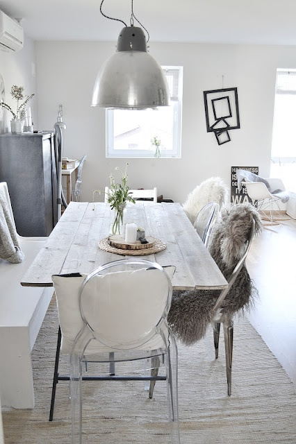 DININGROOM: White base, greywashed table, bench, chairs with furry blankets