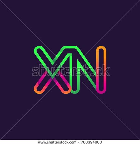 initial logo letter XN, linked outline colorful rounded logotype