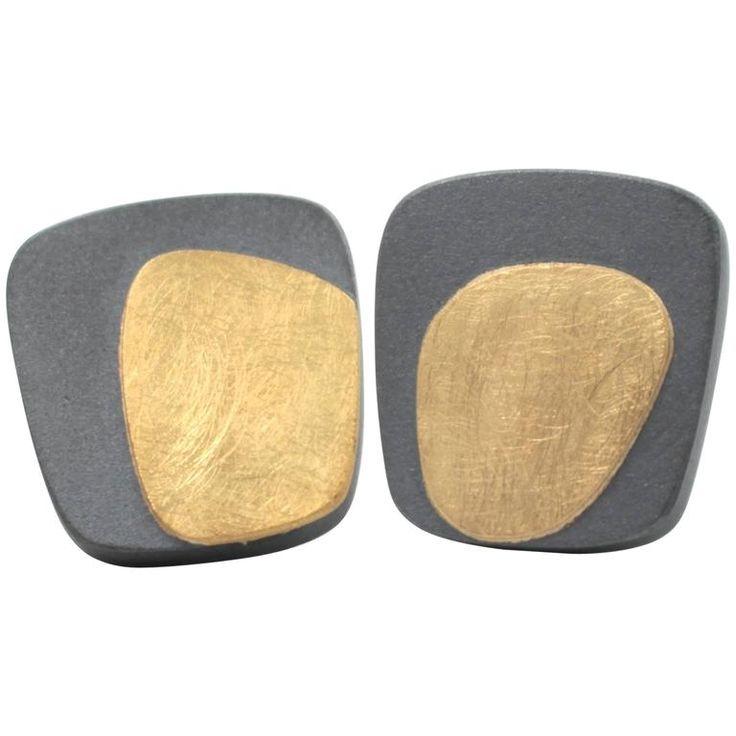 Janis Kerman Oxidized Sterling Silver Gold Post Earrings 1