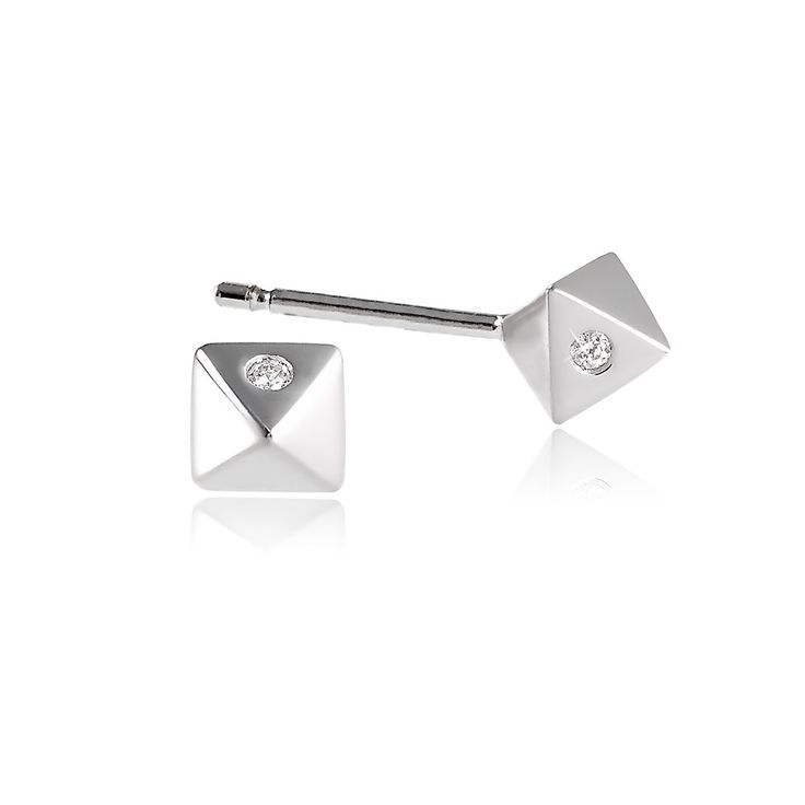 Fate Earrings in Sterling Silver with diamonds - GITTE SOEE Jewellery - Danish Design