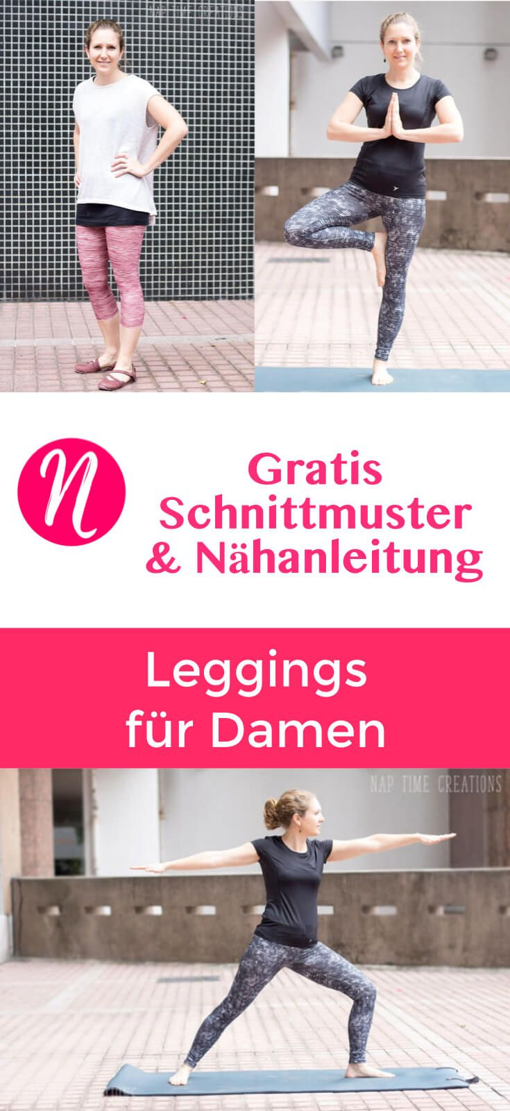 Freebook: Damen-Leggings - Kostenloses Schnittmuster & Nähanleitung ❤ XS - XXL ❤ Nähtalente - Magazin für kostenlose Schnittmuster ❤ Sew your own Leggings with this great free sewing pattern for woman. Size XS - XXL