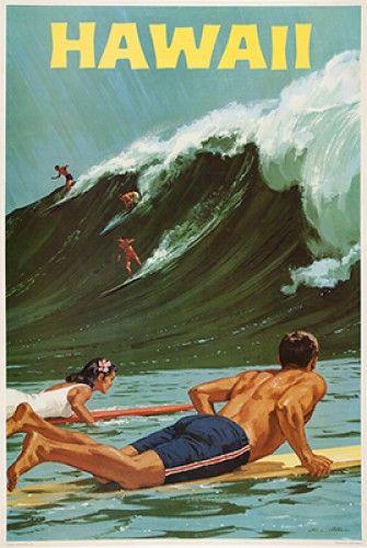 Original 1960s vintage surfing poster of Hawaii #retro