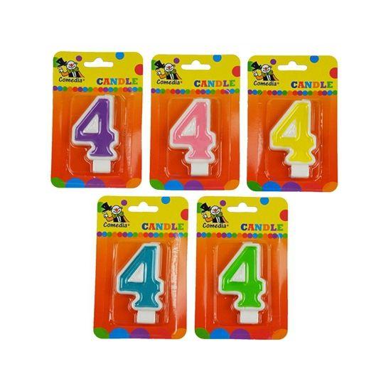 Cijferkaars 4 jaar. Kaars in de vorm van het getal 4. Formaat ongeveer 8 cm hoog en 4,5 cm breed.