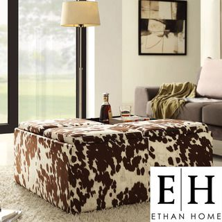 @Overstock - This multipurpose storage ottoman is as functional as it is stylish. The ottoman is upholstered in polyester fabric with the look of cow hide. The removable lids reveal storage inside the ottoman, and the lids can be used as tabletops.http://www.overstock.com/Home-Garden/ETHAN-HOME-Decor-Cow-Hide-Fabric-Storage-Ottoman/7252374/product.html?CID=214117 $279.99