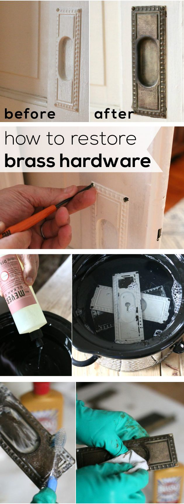 With the help of a slow cooker, water and dish soap, caked-on paint can be easily removed to restore the original details that give character to a home. Restore old brass hardware around the house with these easy instructions. http://www.ehow.com/how_6831910_restore-brass-hardware.html?utm_source=pinterest.com&utm_medium=referral&utm_content=inline&utm_campaign=fanpage