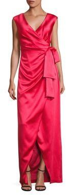Kay Unger Stretch Satin Faux Wrap Gown