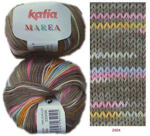 50g MAREA KATIA 100% Baumwolle MULTICOLOR Farbverlauf weiche Wolle ...