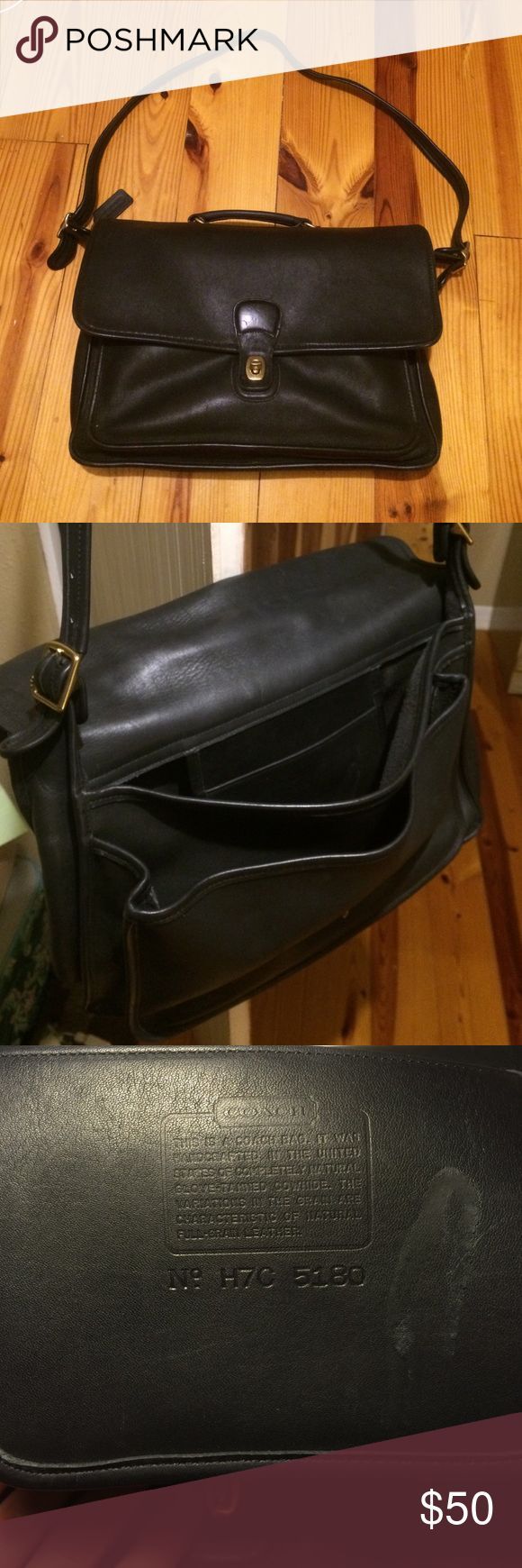 Coach Briefcase Coach Briefcase. Pre Owned and well broken in. From the 1980's. Black leather. Coach Bags Laptop Bags