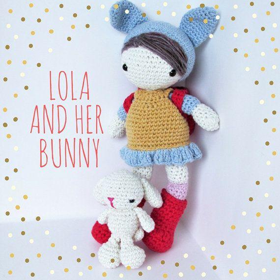 Lola the amigurumi cotton bunny girl doll with her little bunny