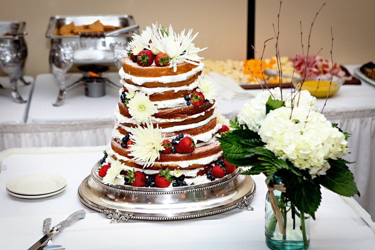 My naked wedding cake!  LB Cakes in East Liverpool, Ohio made this