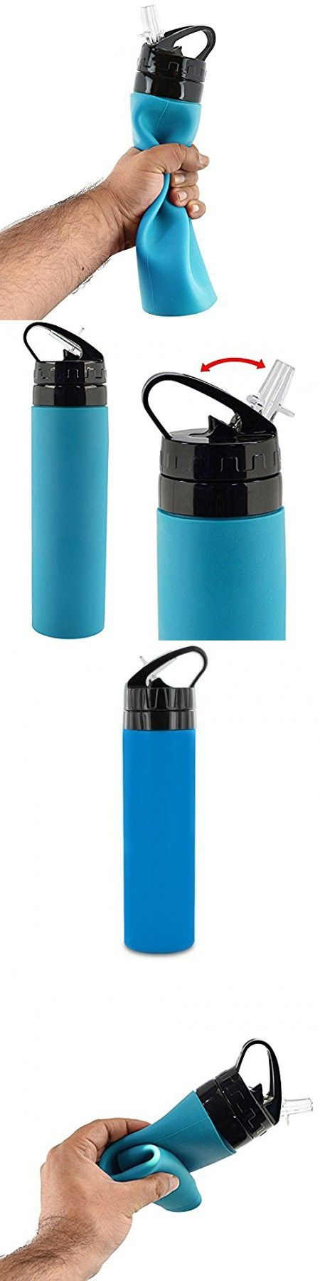 Silicone Squeeze Water Bottle - Blue Sports BPA Free Light Weight Reusable - Leak Proof Foldable Water Bottle, 26 OZ By