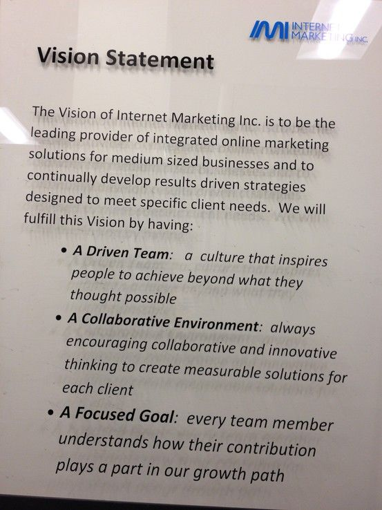 IMI's Vision Statement