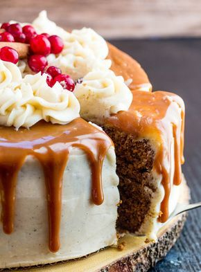 Gingerbread Cake with Cinnamon Cream Cheese Frosting and Caramel Drizzle. #Thanksgiving #Christmas #desserts