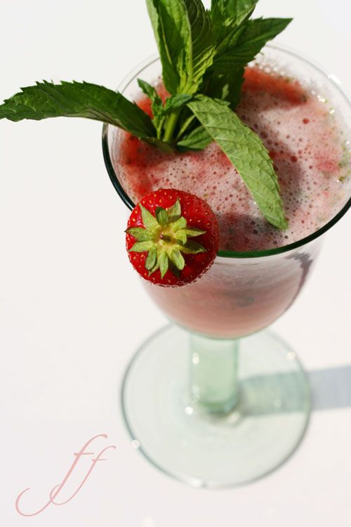 Water strawberries and mint