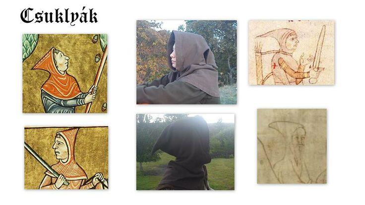 """12. századi csuklyák és rekonstrukciók.  A kor csuklyái legtöbbször külön álló ruhadarabok voltak, de készültek a felsőruhával egyben is. Legfőbb jellemzői a bő gallér és a hegyes formájú """"csücsök"""".  Ezek anyaga gyapjú vagy lenvászon volt.( Lehet bélelni a gyapjút lenvászonnal is.)"""