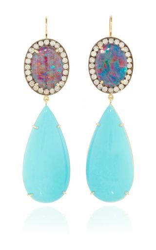 One of a kind australian opal earring with ice diamonds & sleeping beauty turquoise drops by ANDREA FOHRMAN Preorder Now on Moda Operandi