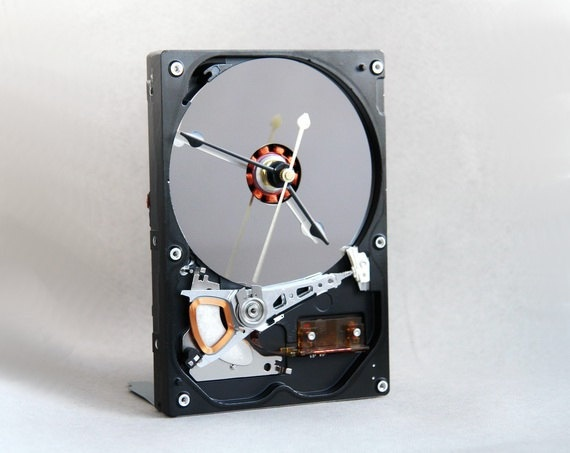 Desk clock made from a recycled Computer hard driver