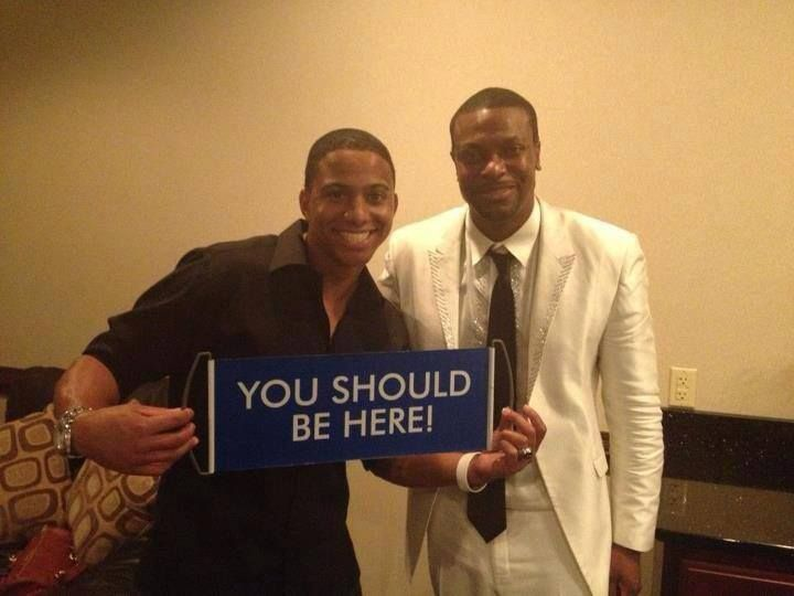 Chris Tucker with the You Should Be Here banner. #dreamtrips #youshouldbehere #banner #bluesign
