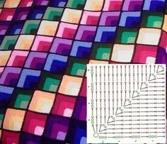 Piastrella quadrata multicolore   Ecco per voi un'idea dal web, una bella piastrella quadrata semplice da realizzare e di grande effetto! C...