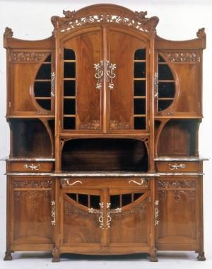 art nouveau carved walnut credenza with textured gold glass cabinet doors italy ca art deco office credenza
